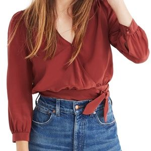 Madewell silk wrap blouse